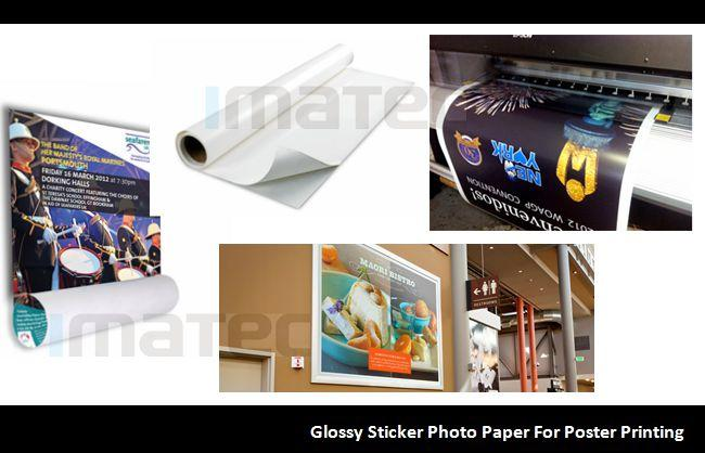 Water Resistant Glossy Cast Coated Photo Paper Sticker Roll 135gsm